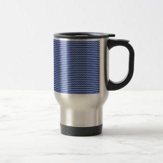 Horizontal Zigzag - Pale Blue and Navy Blue Mugs