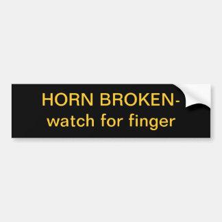 Horn Broken Watch for Finger Bumper Sticker