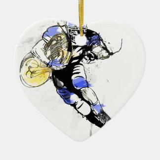 horn football ceramic ornament