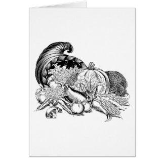 Horn of Plenty Cornucopia Woodcut Card