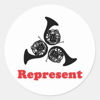 Horn Represent Classic Round Sticker
