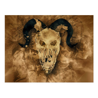horned demon skull postcard