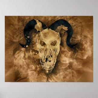 horned demon skull poster
