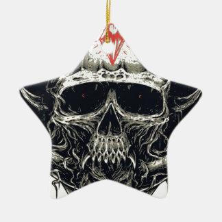 Horned Devil Skull Ceramic Ornament