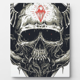Horned Devil Skull Plaque