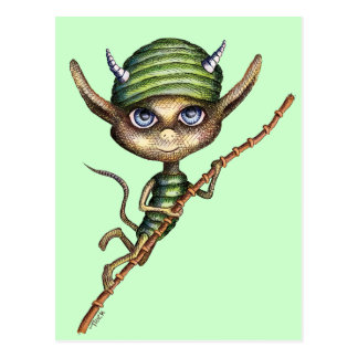 Horned Elf on Bamboo Branch Postcard