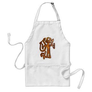 Horned figure rust apron
