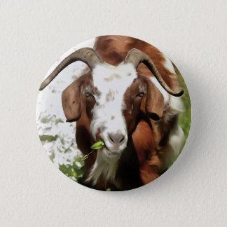 Horned Goat Grazing 6 Cm Round Badge