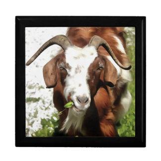 Horned Goat Grazing Large Square Gift Box