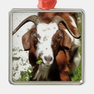 Horned Goat Grazing Metal Ornament