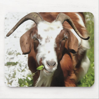 Horned Goat Grazing Mouse Pad