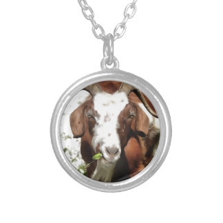 Horned Goat Grazing Silver Plated Necklace