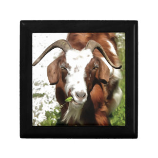 Horned Goat Grazing Small Square Gift Box