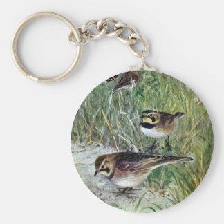 Horned Larks in a Meadow Key Ring