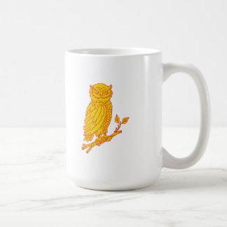 Horned Owl Perching Branch Mono Line Coffee Mug