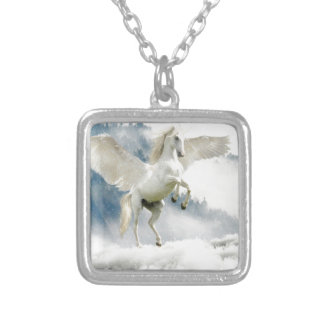 Horned Pegasus Silver Plated Necklace