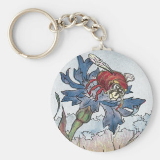 Hornet on Bachelor's Button Basic Round Button Key Ring