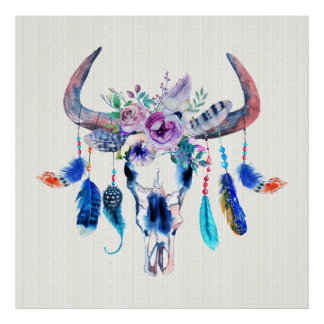 Horns And Flowers On Bull Skull Poster
