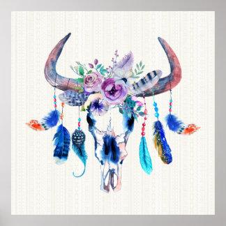 Horns And Flowers On Bull Skull Poster