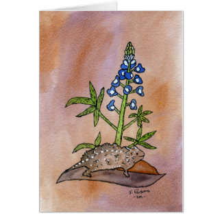 Horny Toad with Bluebonnet Card