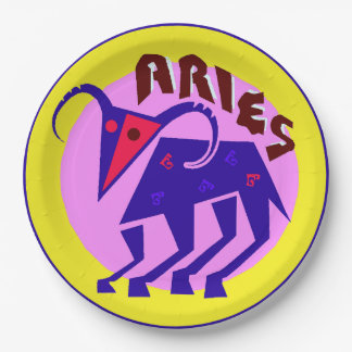 Horoscope Zodiac Sign Aries, Party Paper Plates 9 Inch Paper Plate