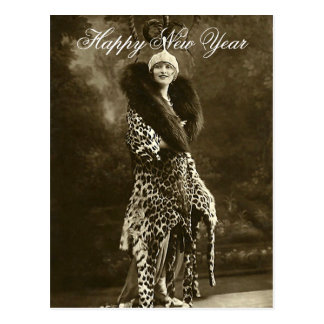 Horrendous Hat and Coat New Year Postcard