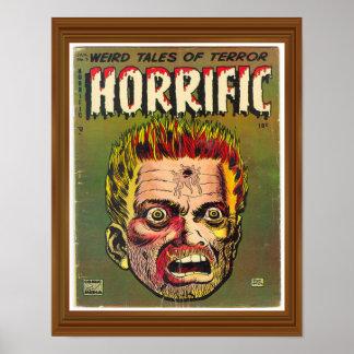 Horrific Terror Zombie Comic Cover Artwork Vintage Poster