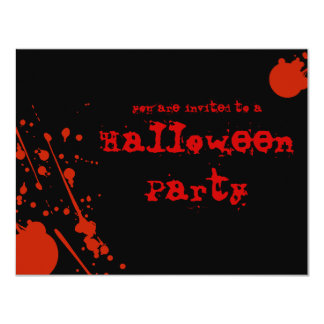 "Horror Blood Splatters All Black Halloween Invite 4.25"" X 5.5"" Invitation Card"