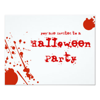 "Horror Blood Splatters All White Halloween Invite 4.25"" X 5.5"" Invitation Card"