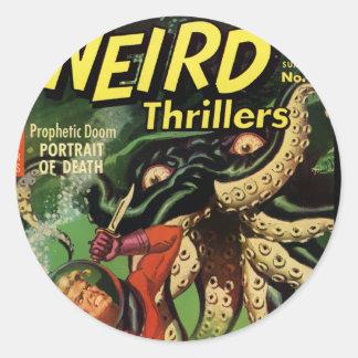 Horror Comic: Weird Thrillers 4 Classic Round Sticker