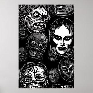Horror Movie Monster Masks (b&w) Poster