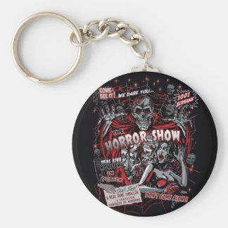 Horror movie Monsters spook show Basic Round Button Key Ring