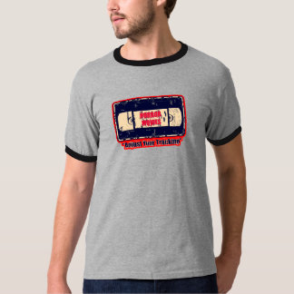 Horror Movies Adjust Your Tracking  Red/Off Yellow T-Shirt