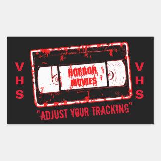 Horror Movies -Video Cassette Adjust Your Tracking Rectangular Sticker