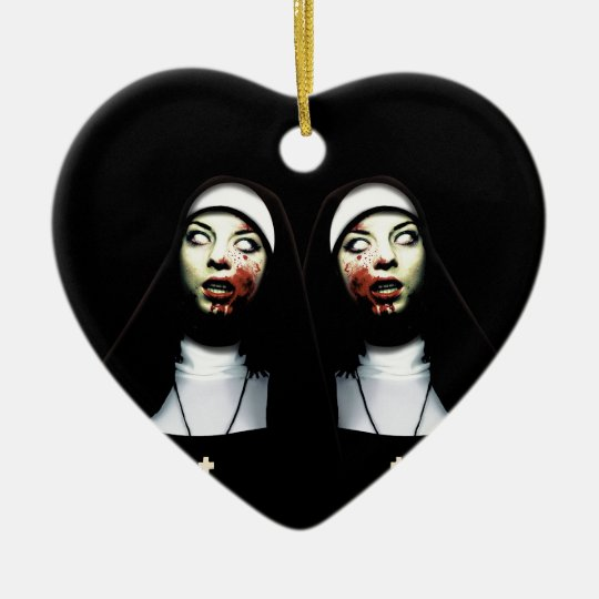 Horror nuns ceramic heart decoration