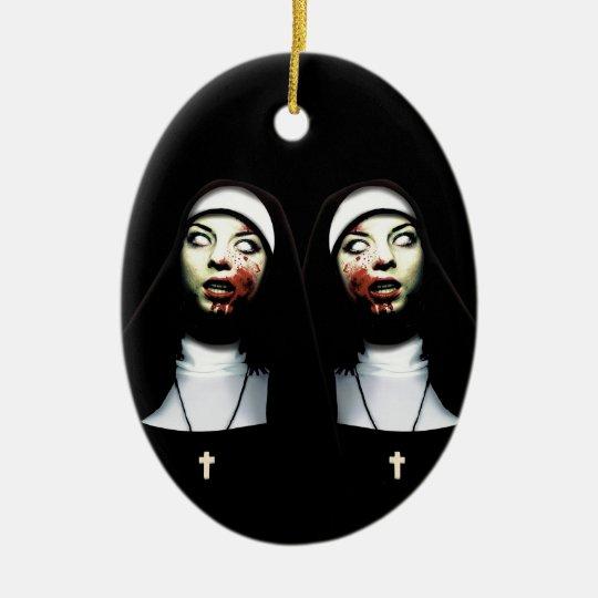 Horror nuns ceramic oval decoration