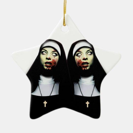 Horror nuns ceramic star decoration