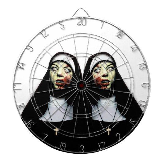 Horror nuns dartboard with darts