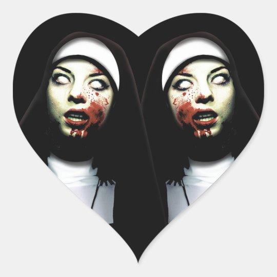 Horror nuns heart sticker