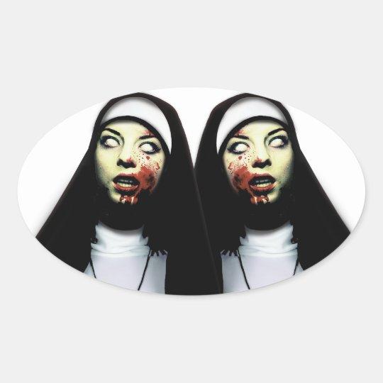 Horror nuns oval sticker