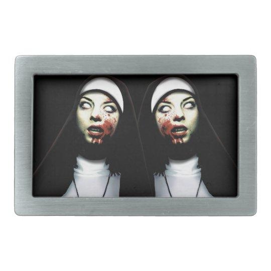 Horror nuns rectangular belt buckle