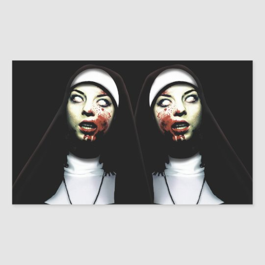Horror nuns rectangular sticker