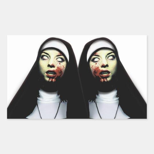 Horror nuns rectangular sticker