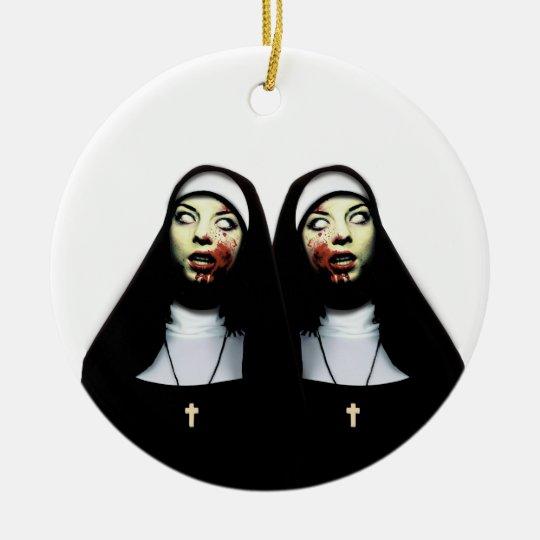 Horror nuns round ceramic decoration