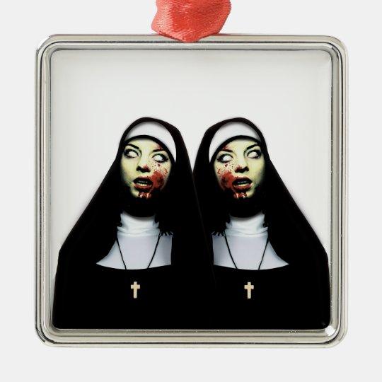 Horror nuns Silver-Colored square decoration