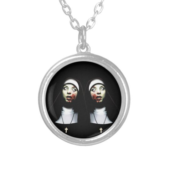 Horror nuns silver plated necklace