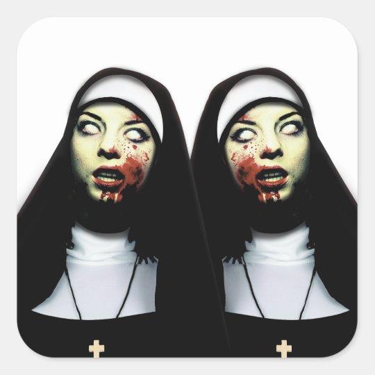 Horror nuns square sticker