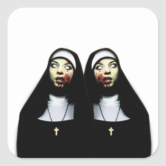 Horror nuns square sticker