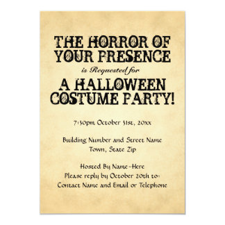 Horror of Your Presence. Halloween Party. 13 Cm X 18 Cm Invitation Card