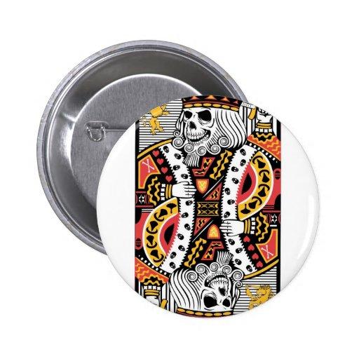 Horror Skeleton King Playing Card Pinback Buttons